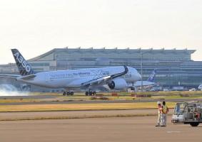 羽田空港に到着したA350 XWB(JAL)