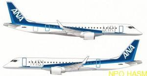 飛行試験機5号機には全日空の塗装仕様にMRJのロゴが描かれる