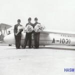 清水滑空士のグライダー日本一周 1940年(昭和15年)5月19日「紀元2600年」記念事業としてグライダー曳航日本一周飛行への出発式。