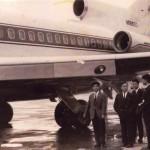 全日空のボーイングB727 全日空が購入機の導入まで、つなぎでリースした機体でNナンバーです。1964,5年(昭和39,40年)頃。(坂)