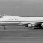 パンアメリカン航空のボーイングB747 1972年(昭和47年)。(今)