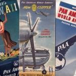 パンアメリカン航空のパンフレット(1949年(昭和24年)当時) 終戦~航空再開(1951年(昭和26年))日本が航空活動を禁止されている間も羽田空港は進駐軍接収下で機能を果たしていた。米軍機に混ざって各国の航空会社が飛来していた。