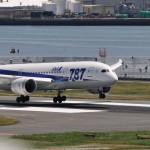 A滑走路に接地する全日本空輸のボーイング787